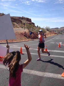 "Here is Sydney screaming her guts out for me!  She said after I finished, ""Wow Mommy! You run really fast!"""
