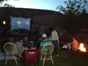 And this is how we recover the night of the race.  Family, friends, s'mores and a backyard movie!