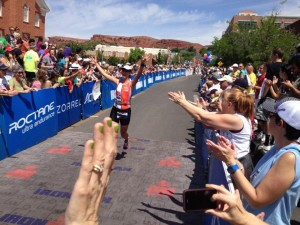 Me finishing Ironman St. George US Pro Championships 70.3 2013.  I felt no pressure.  I loved my training!  I loved the race!  I qualified once for World Championships without giving it any thought :)