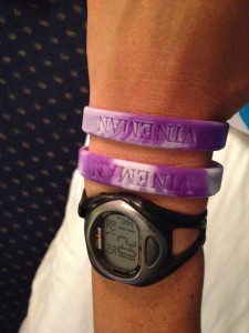 Hardest earned bracelets of my life!  I wish I had one for every time I went to the bathroom instead :)